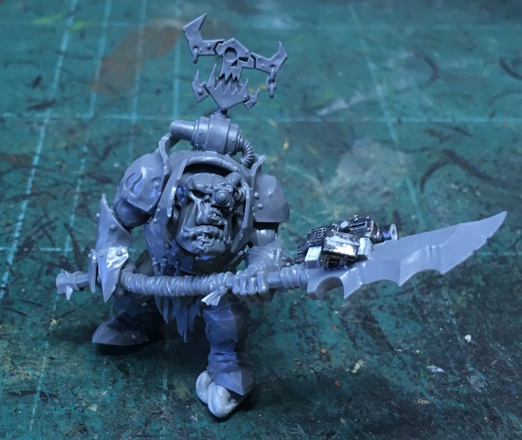 Early stages of work on a Custodian Guard ork