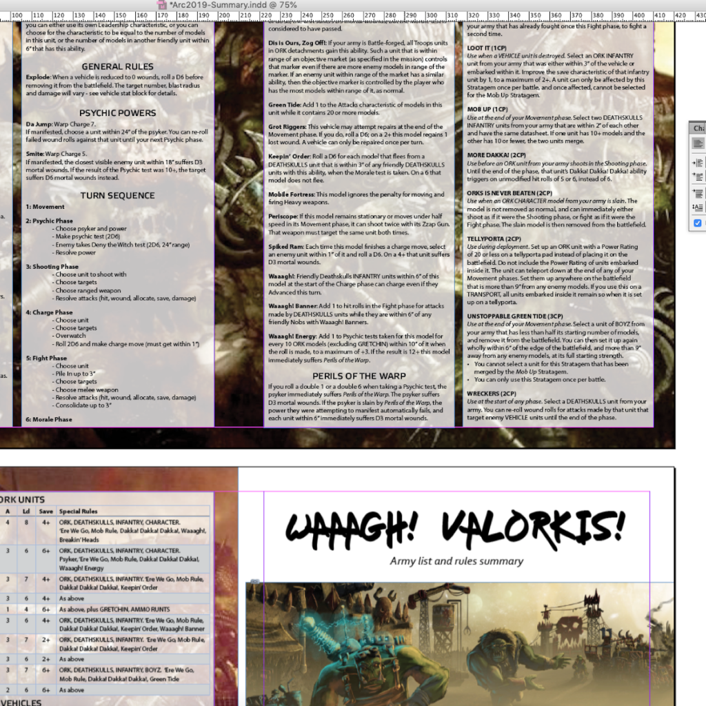 Screenshot of the Arc40k 2019 summary sheet being laid out using Adobe InDesign